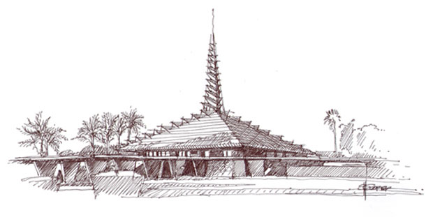 Art of thearchitectural rendering Steve Coffer, sketch of First Christian Church by Frank Lloyd Wright