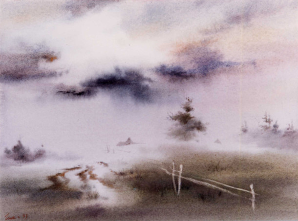 wet on wet Watercolor Shalumov landscape