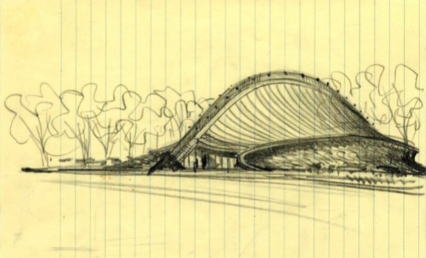 Saarinen Sketch of Yele Ingalls Rink