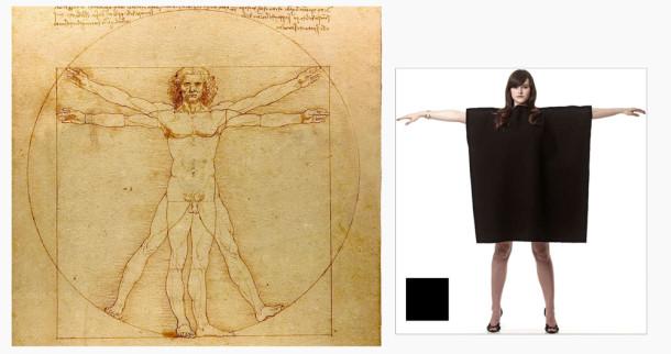 Leonardo man & Black square poncho Inspired by art competition