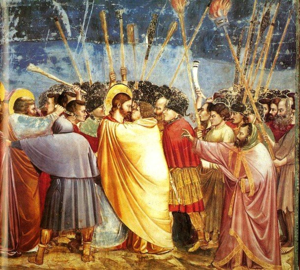 """Giotto di Bondone, fresco """"The Arrest of Christ"""" or """"The Kiss of Judas""""_ Concept and composition in design world"""