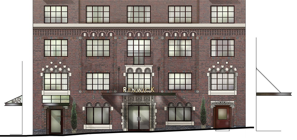 Renwick Hotel Elevation, New York, photoshop, renderings, architectural renderings