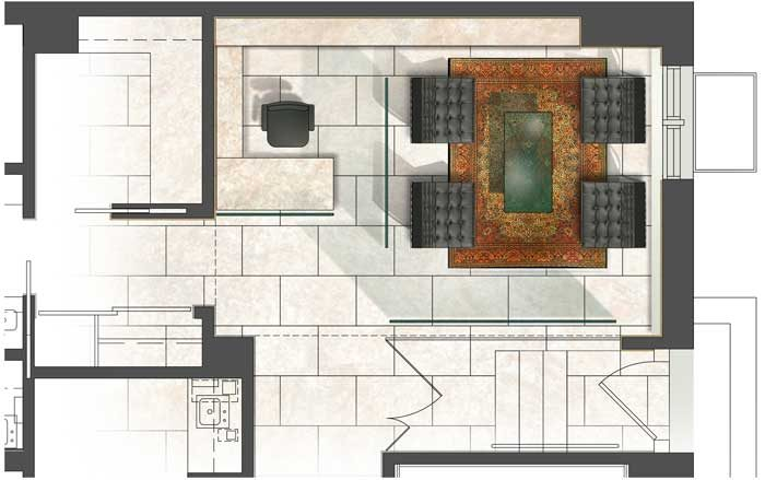 AutoCad Plan painted in Photoshop