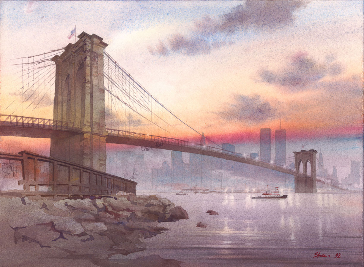 watercolor paintings wet-on-wet artist Shalum Shalumov cityscape Brooklyn Bridge New York