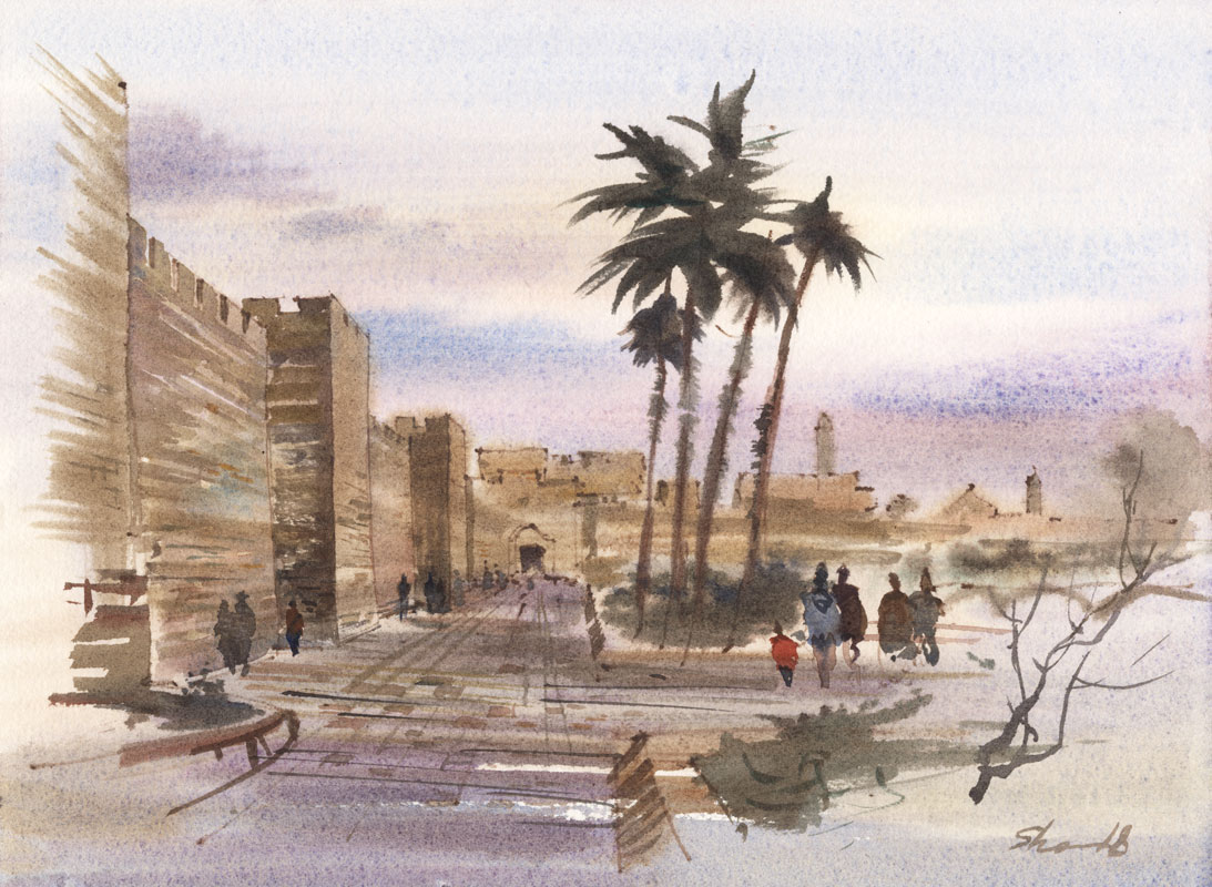 watercolor paintings wet-on-wet artist Shalum Shalumov cityscape Jaffa Gate Jerusalem