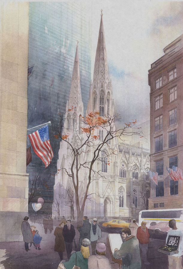 watercolor paintings wet-on-wet artist Shalum Shalumov cityscape St Patric Cathedral New York