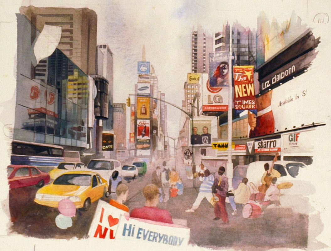 watercolor paintings wet-on-wet artist Shalum Shalumov cityscape Times Squaree New York