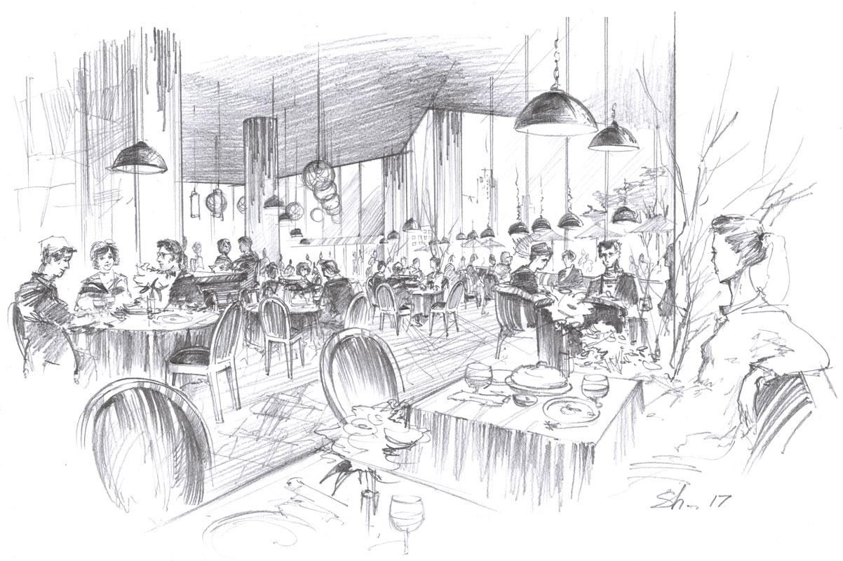 Architectural freehand concept sketch, pencil interior design restaurant by Shalumov