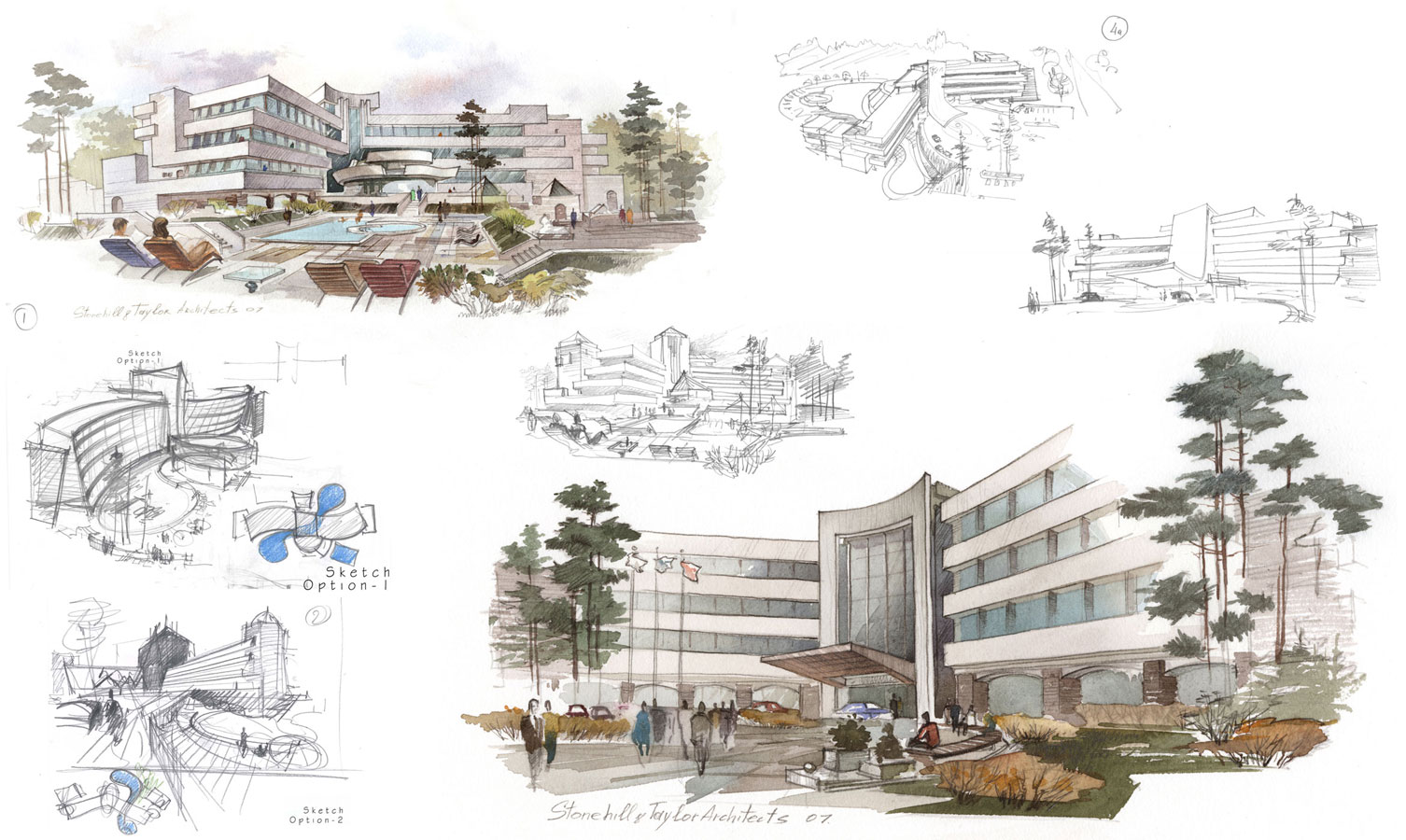 Architectural freehand concept pre-design sketches pencil and watercolor for real estate firm by Shalumov