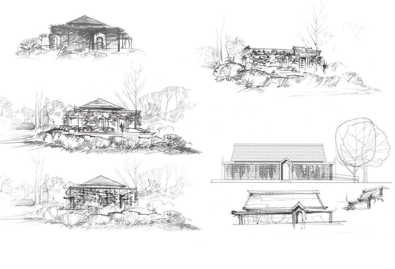 Mikvah  concept design proposal architectural idea freehand pencil conceptual sketches by Shalumov