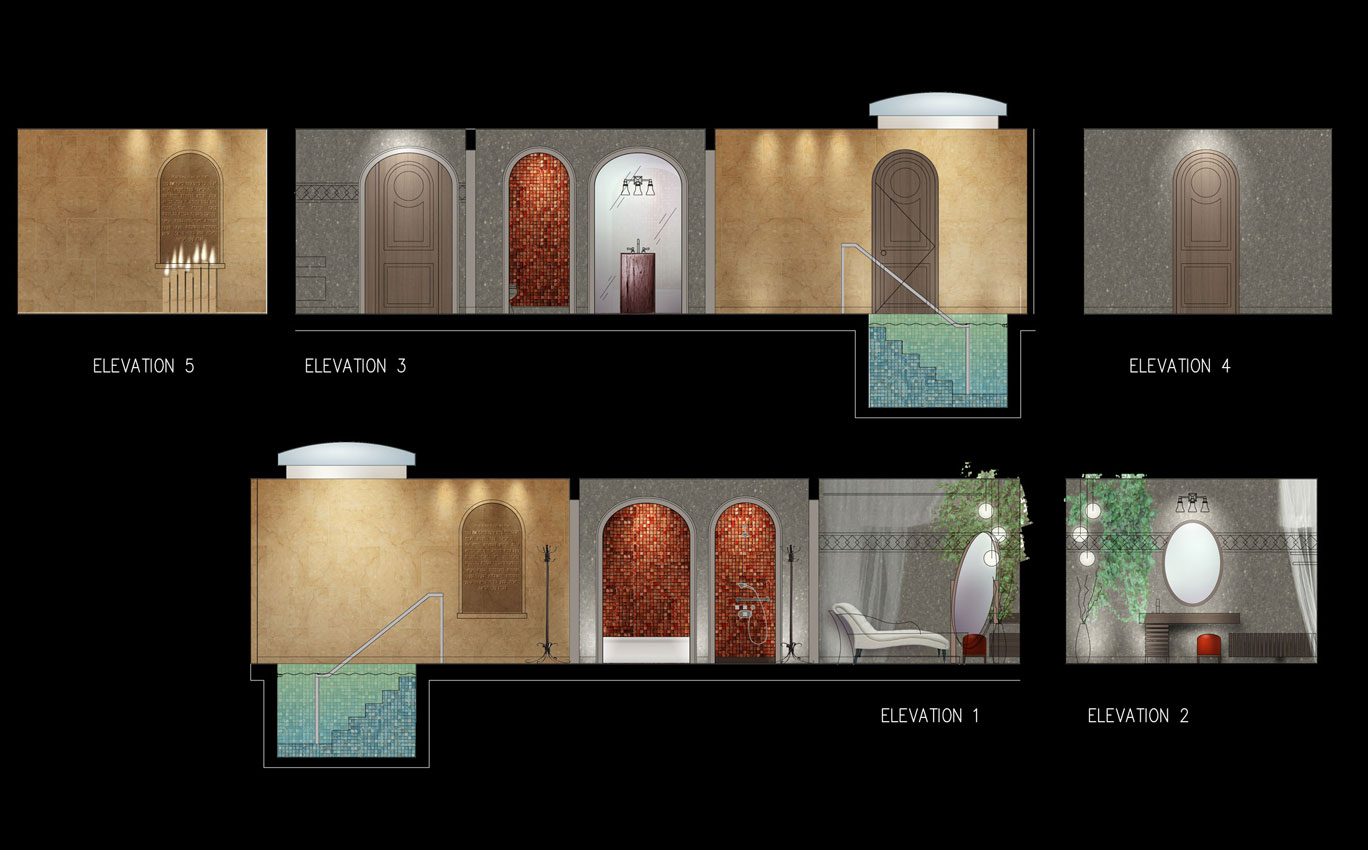 Mikvah Architectural interior design project, concept sketch, Photoshop over AutoCAD elevations by Shalumov