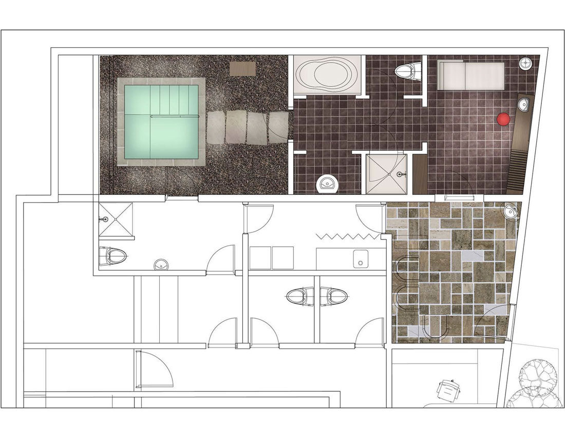 Mikvah Architectural interior design project, concept sketch, Photoshop over AutoCAD plan by Shalumov
