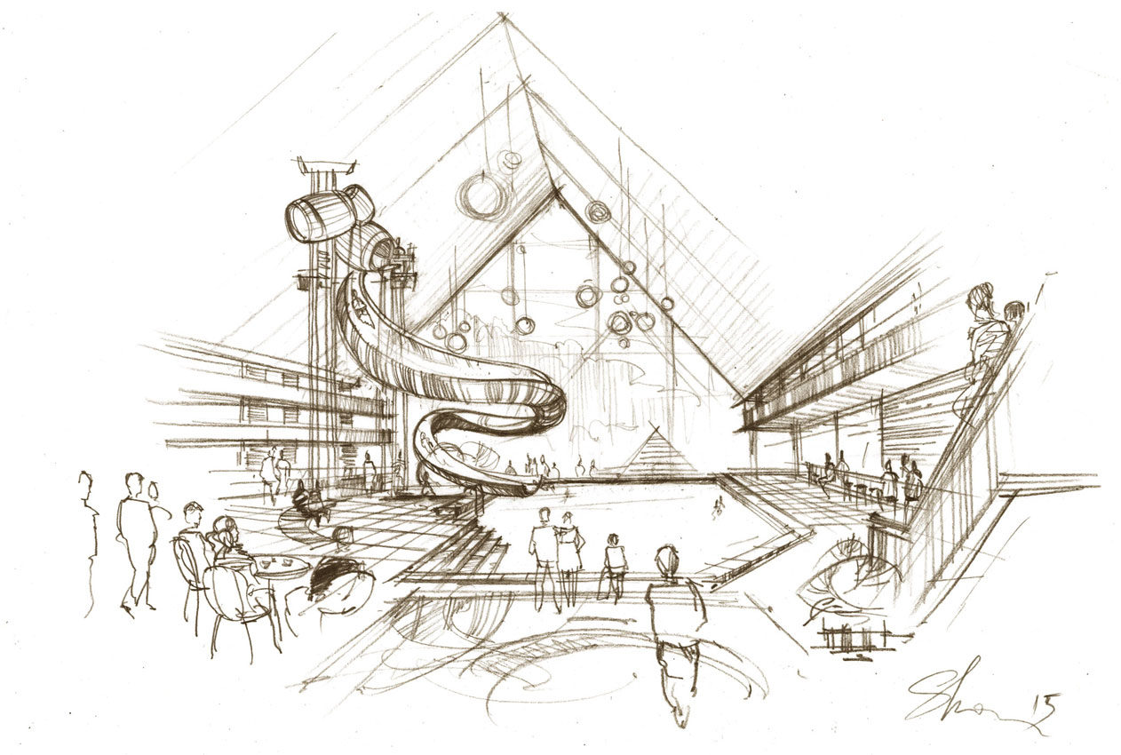 Architectural concept pre-design sketch for real estate firm. Free hand  rendering by Shalumov architectural illustration aquapark