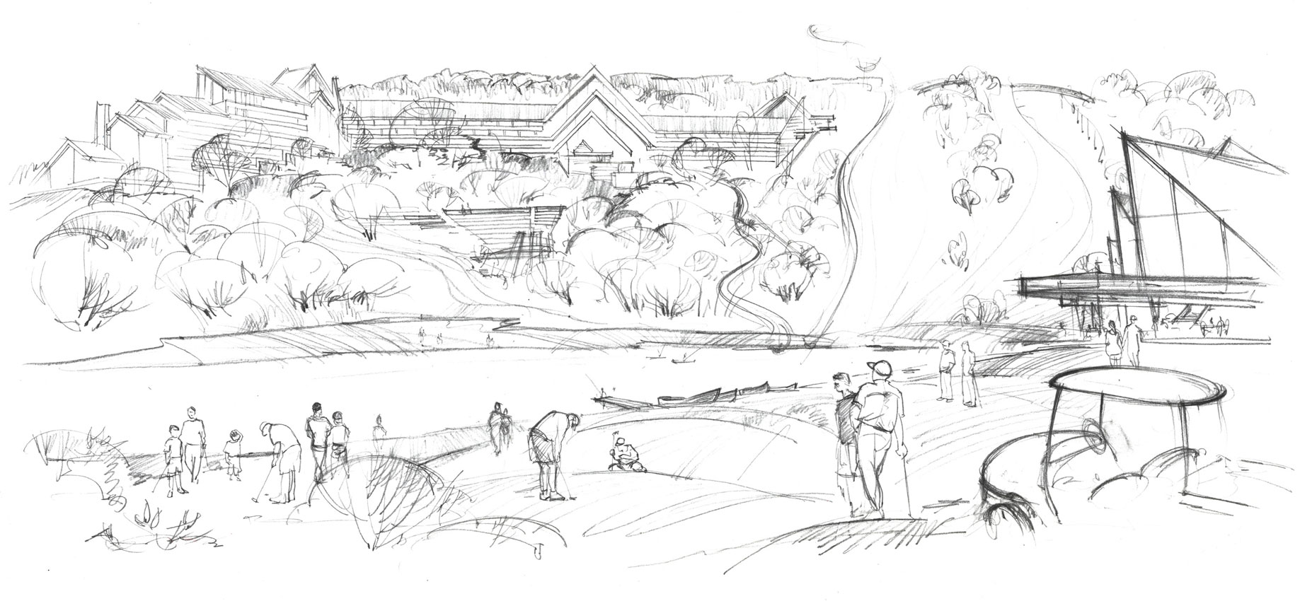 Architectural concept pre-design sketch for real estate firm. Free hand rendering.