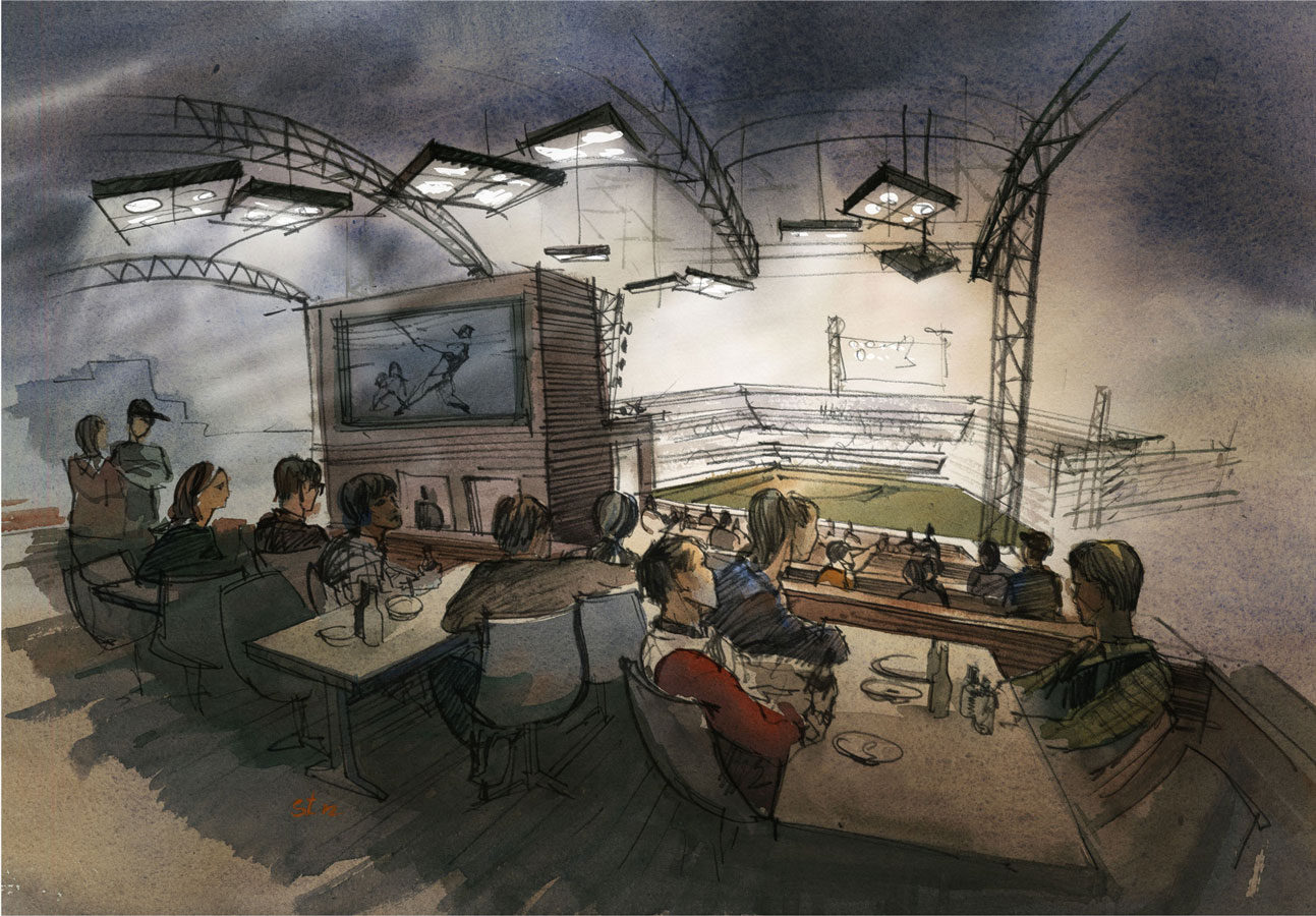 Architectural concept sketch, freehand rendering watercolor restaurant hotel roof architectural illustration
