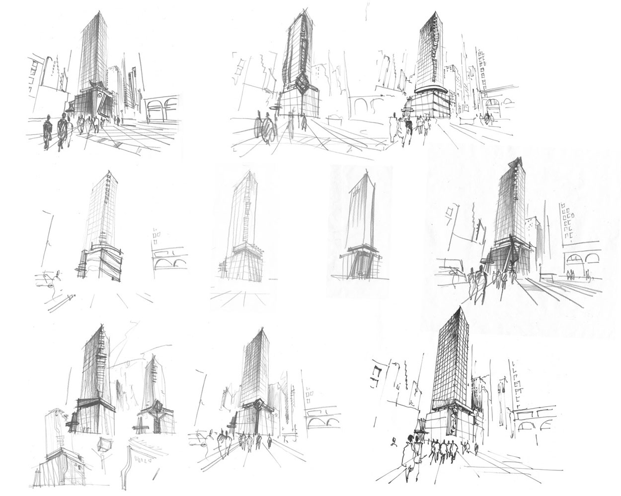 freehand rendering architectural concept sketches pencil hotel and retail space by Shalumov