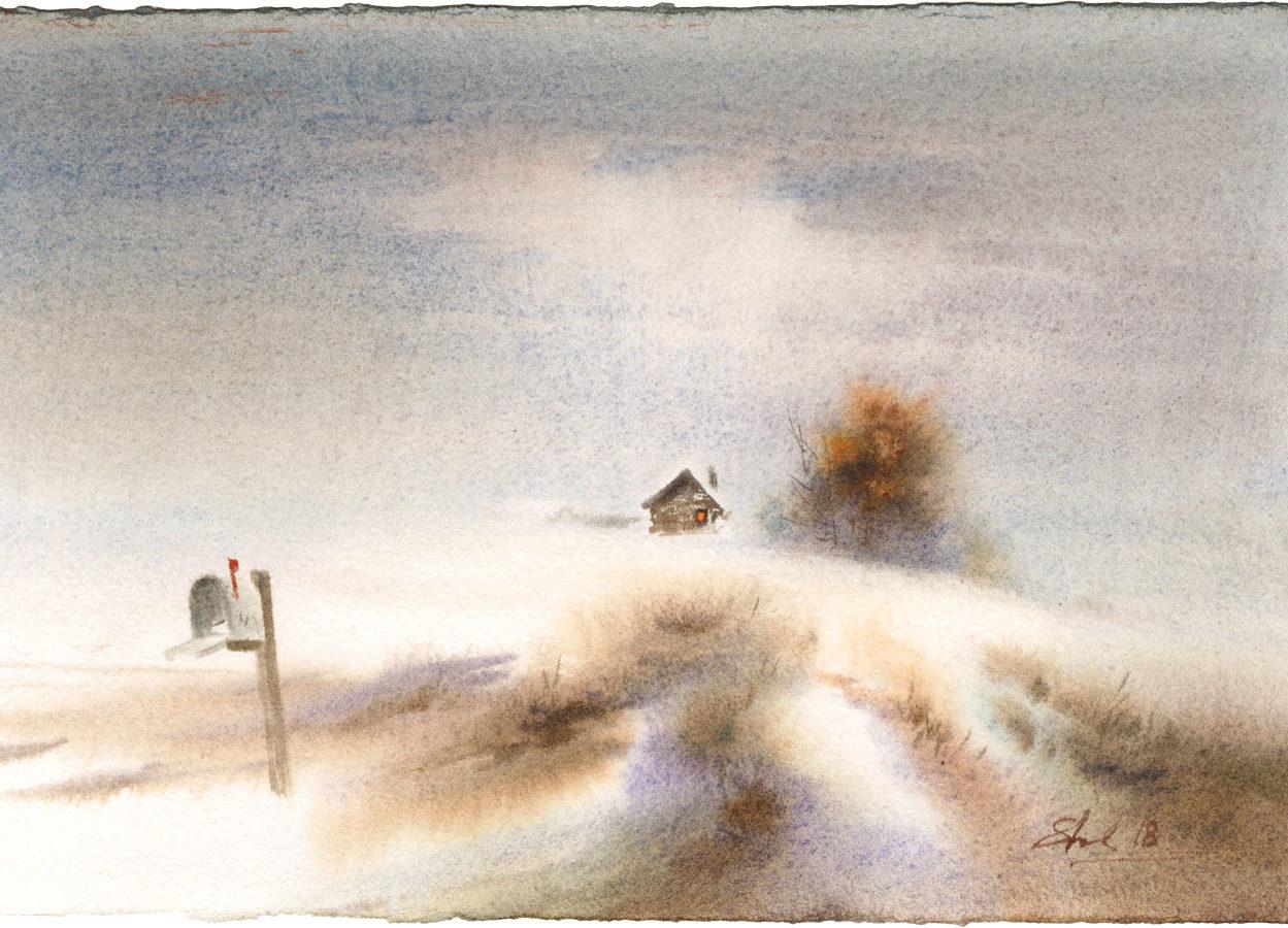 watercolor paintings wet-on-wet artist Shalum Shalumov landscape fine art aquarelle