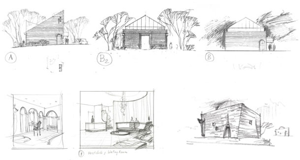 Rendering at early stages of architectural design. Shalumov mikvah sketches