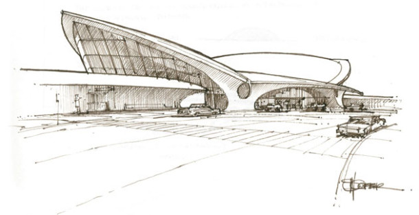 art of architectural rendering Steve Coffer, sketch of Saarinen's TWA Termina