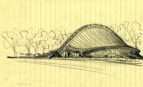 Saarinen Sketch of Yele Ingalls Rink