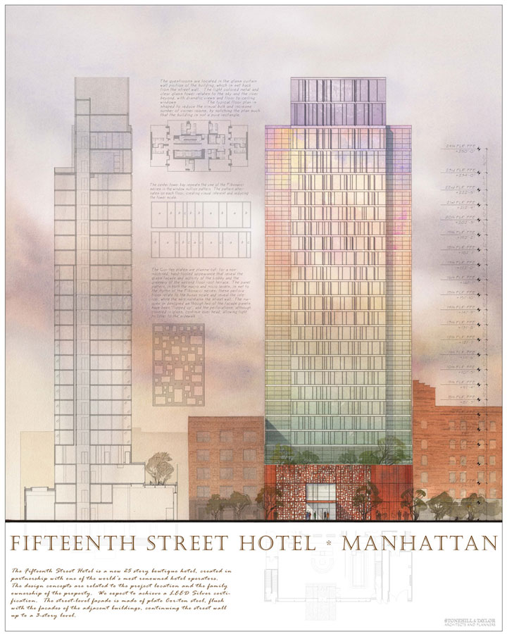 Watercolor, Photoshop architectural freehand rendering concept sketch visualisation architecture hotel elevation