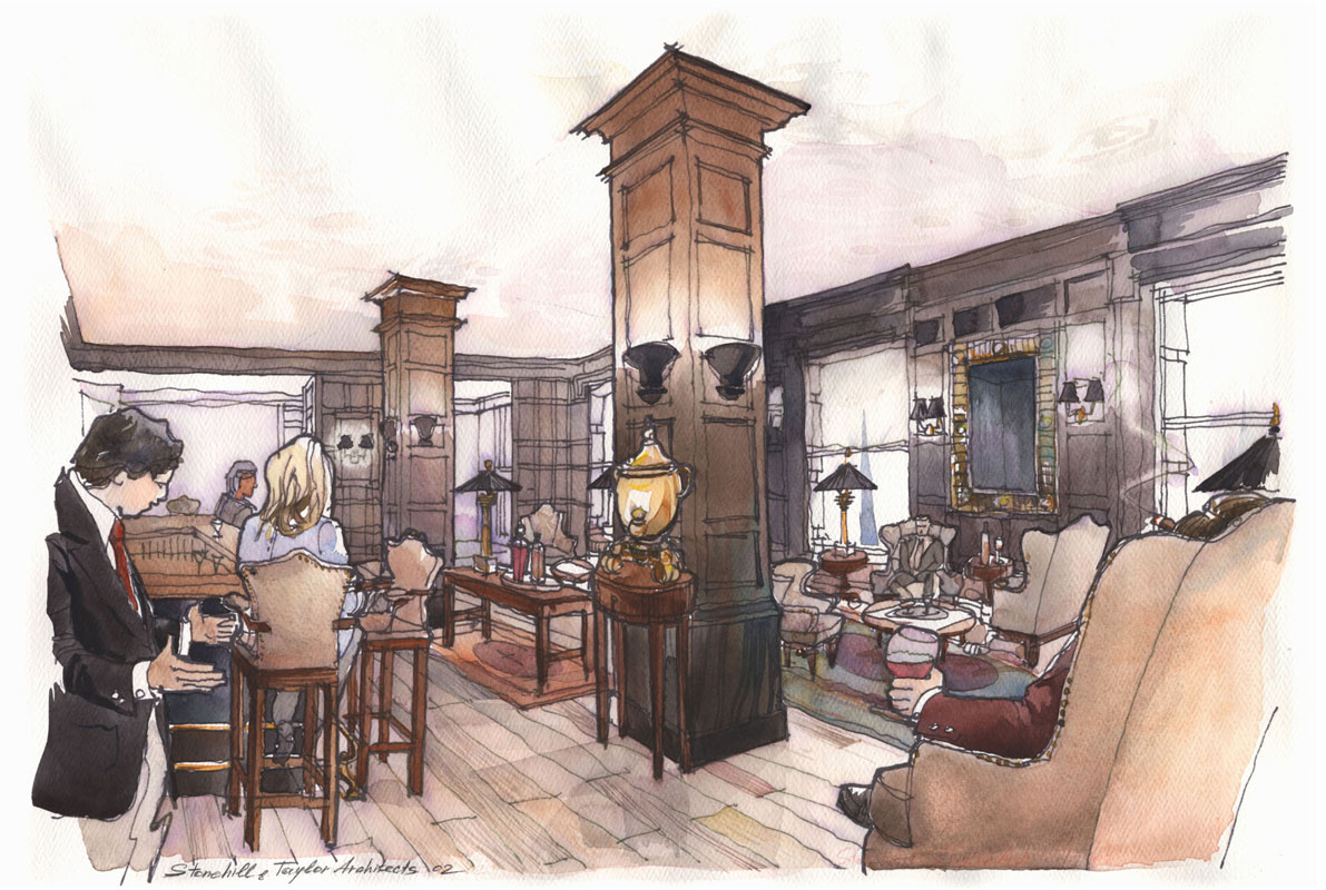 Watercolor architectural freehand rendering concept sketch visualisation architecture hotel restaurant Plaza