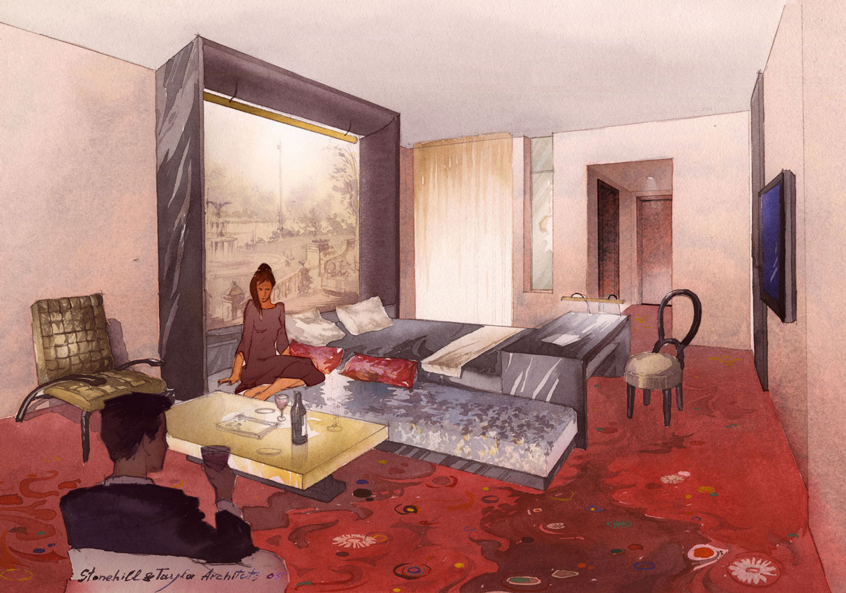 Watercolor architectural freehand rendering concept sketch visualisation architecture hotel room