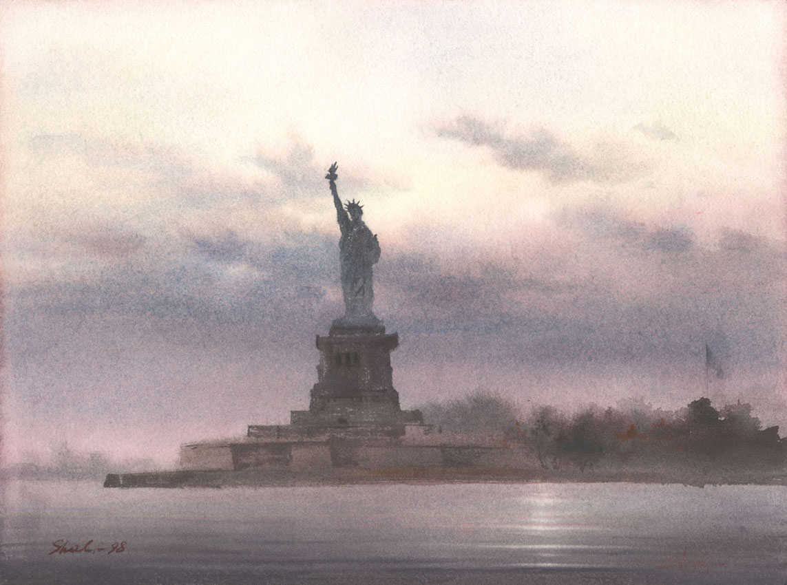 watercolor paintings wet-on-wet artist Shalum Shalumov cityscape Liberty Statue NY New York