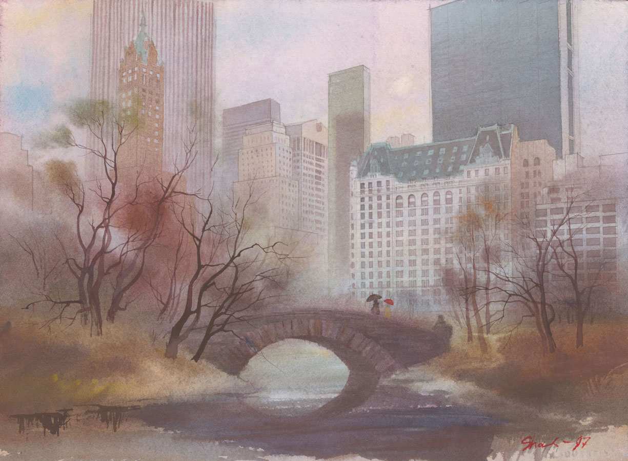 watercolor paintings wet-on-wet artist Shalum Shalumov cityscape Gapstow Bridge Central Park NY New York