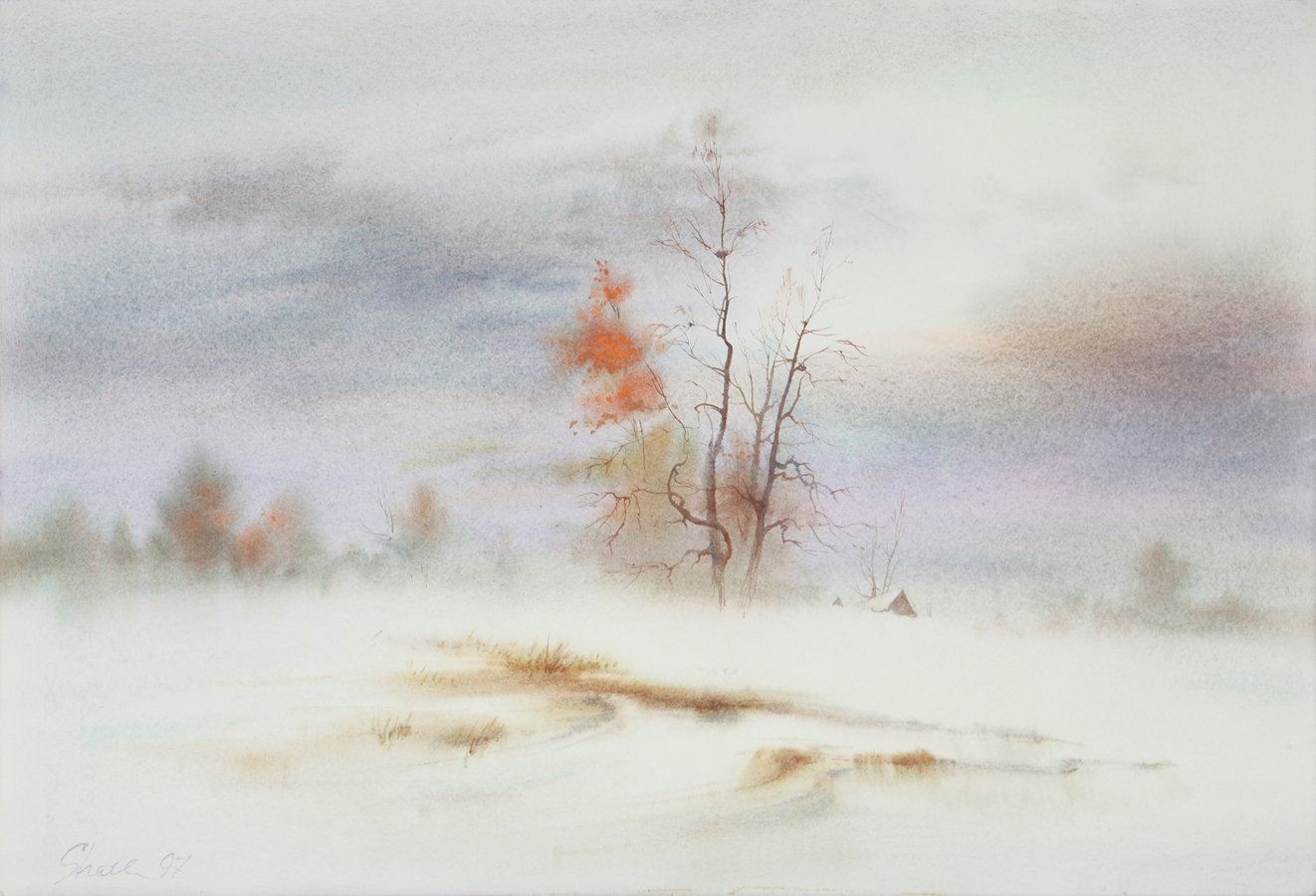 watercolor paintings wetonwet wet on wet winter landscape fine art aquarelle artist Shalum Shalumov Шалум Шалуиов архитектор художник