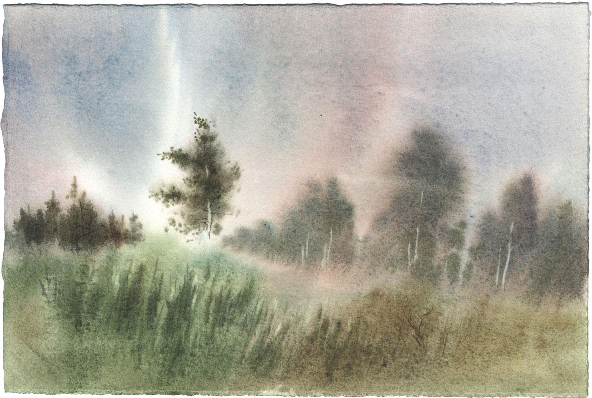 watercolor paintings wet-on-wet landscape fine art aquarelle artist Shalum Shalumov Шалум Шалуиов