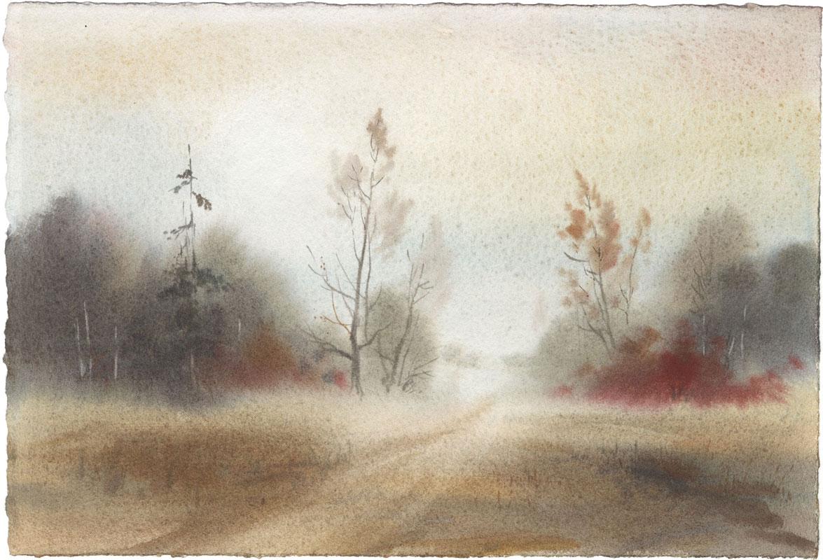 watercolor paintings wet-on-wet landscape fine art aquarelle artist Shalum Shalumov Шалум Шалуиов архитектор художник
