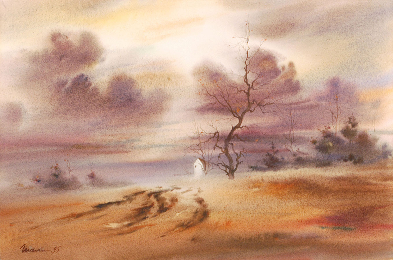 watercolor paintings wet-on-wet landscape fine art aquarelle artist Shalum Shalumov countryside Шалум Шалуиов архитектор художник архитектурный дизайнер