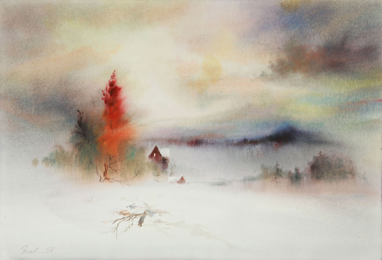 watercolor paintings wet-on-wet winter landscape fine art aquarelle artist Shalum Shalumov Шалум Шалуиов архитектор художник архитектурный дизайнер
