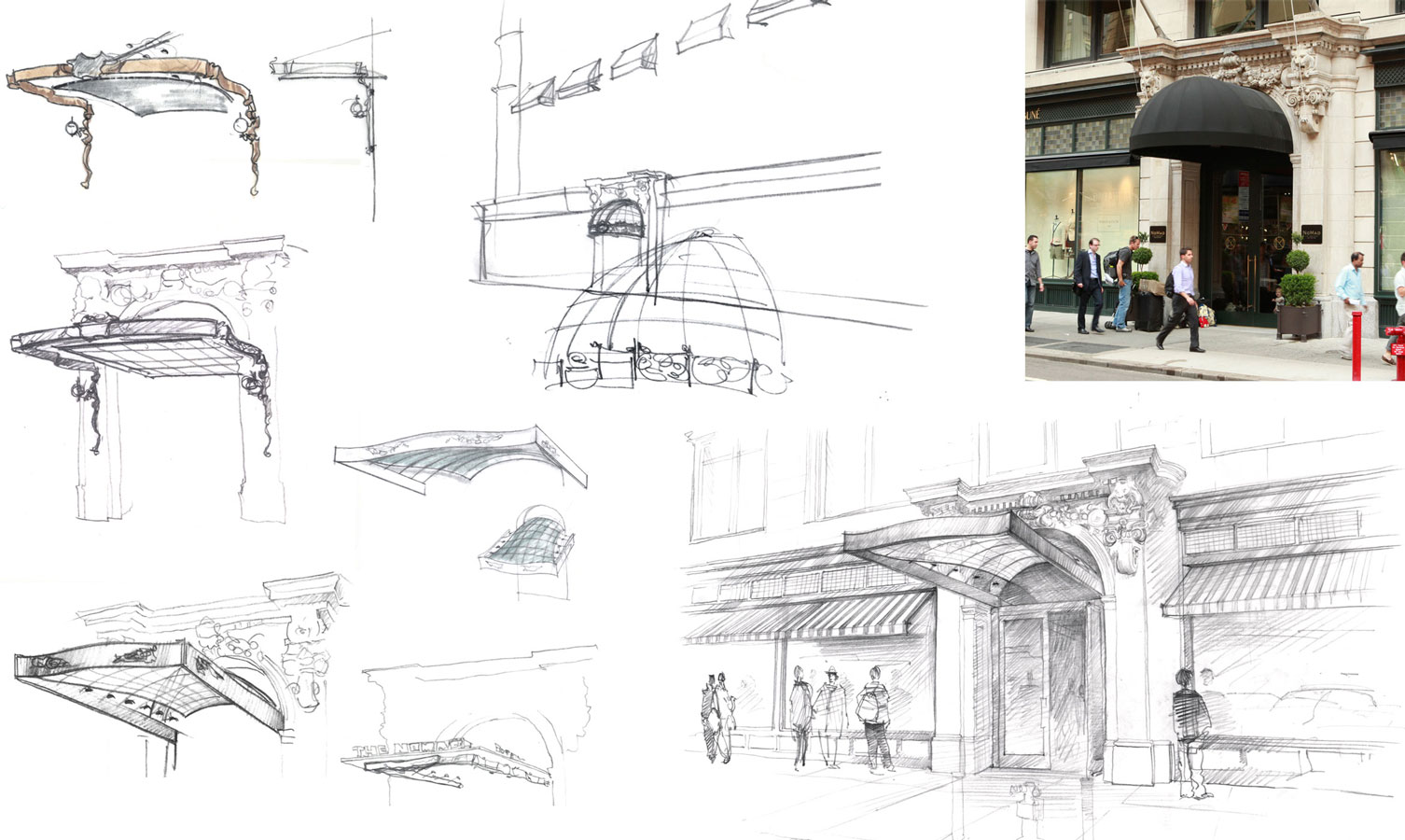 freehand rendering  architectural concept sketches hand drawing sketch pencil hotel and retail space by Shalumov