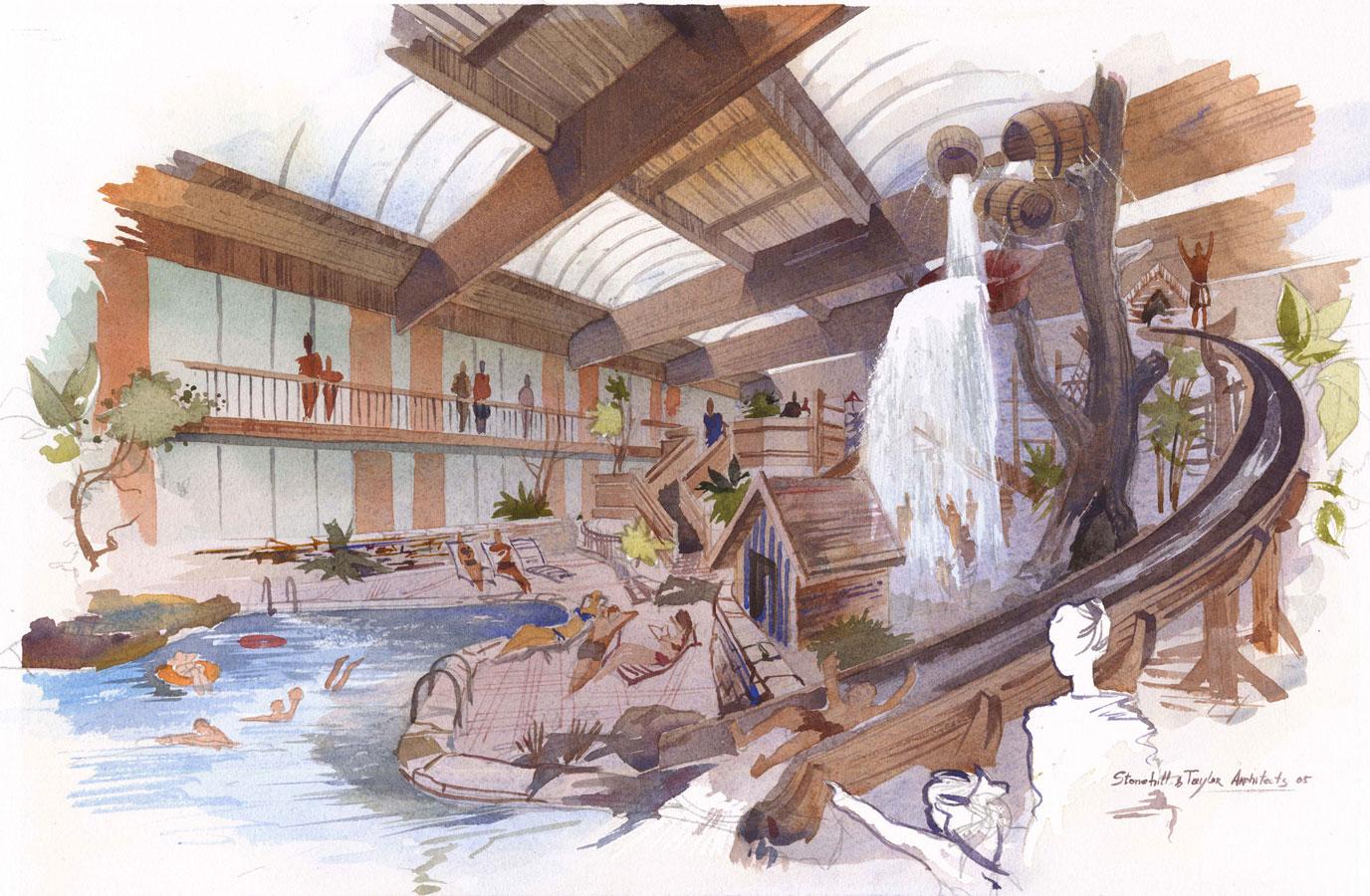 Conceptual predesign sketch pencil photoshop architecture design idea aquapark interior shalum Shalumov