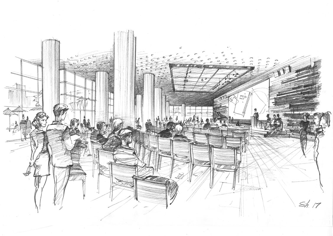 Architectural concept pencil sketch freehand rendering by Shalumov interior design