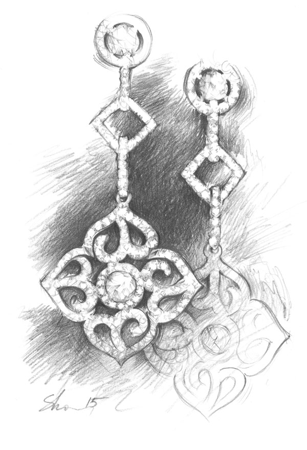 Rendering jewerly pencil sketch earing Shalumov