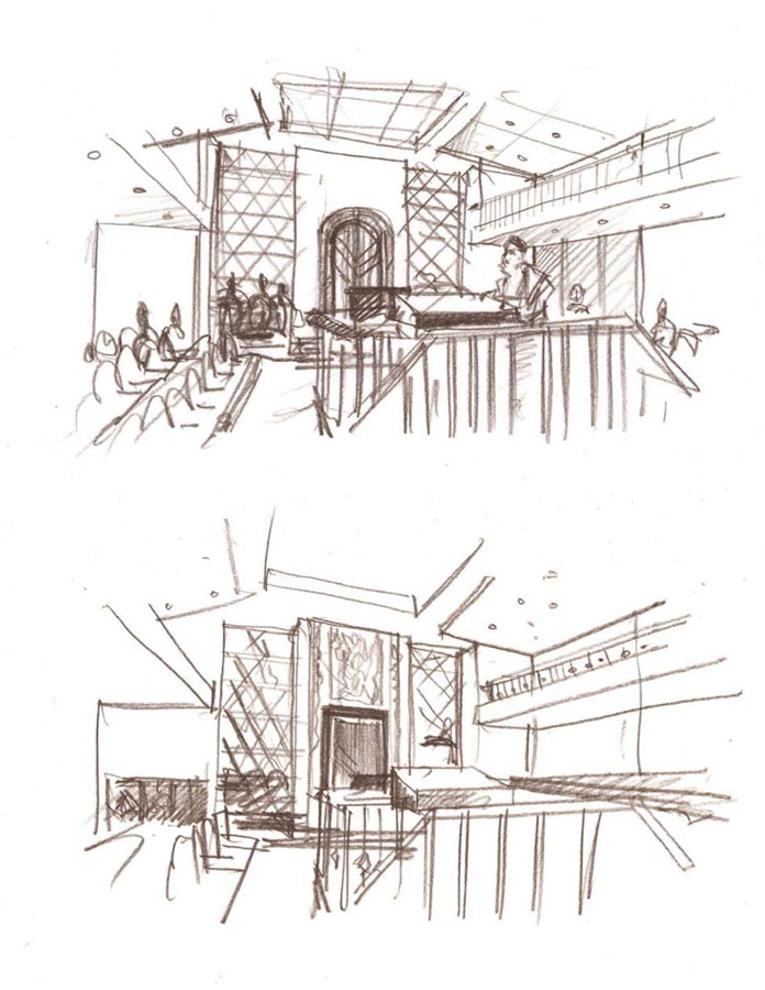 concept interior design proposal architectural idea freehand pencil sketches by Shalumov