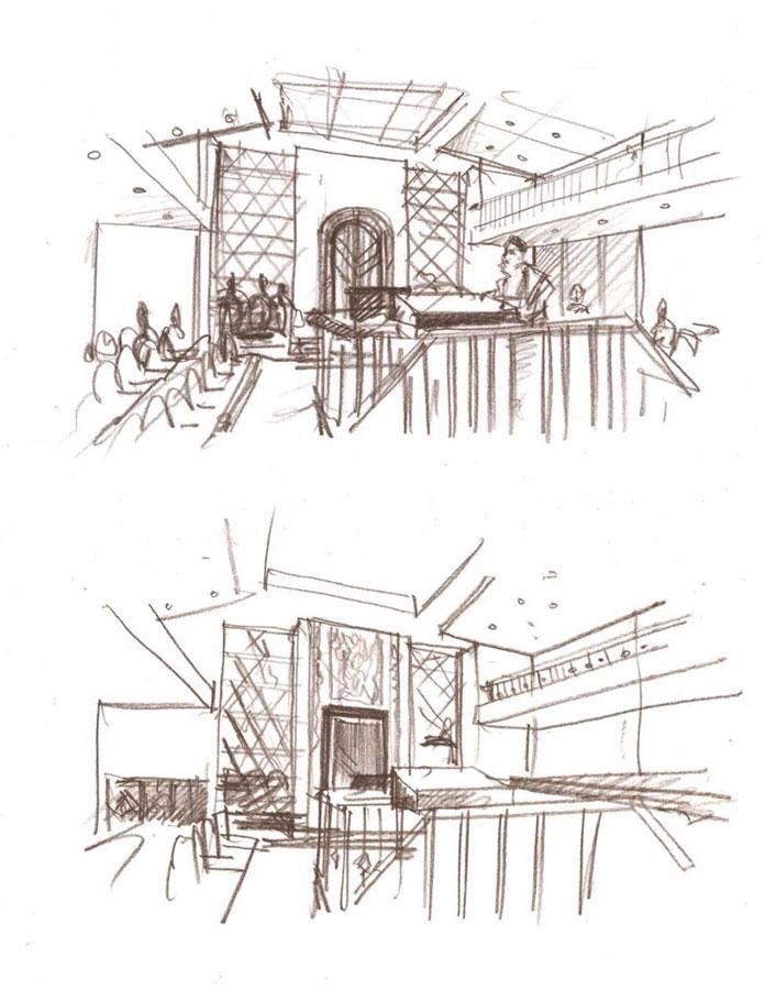 concept interior design proposal architectural idea freehand pencil sketches by Shalumov