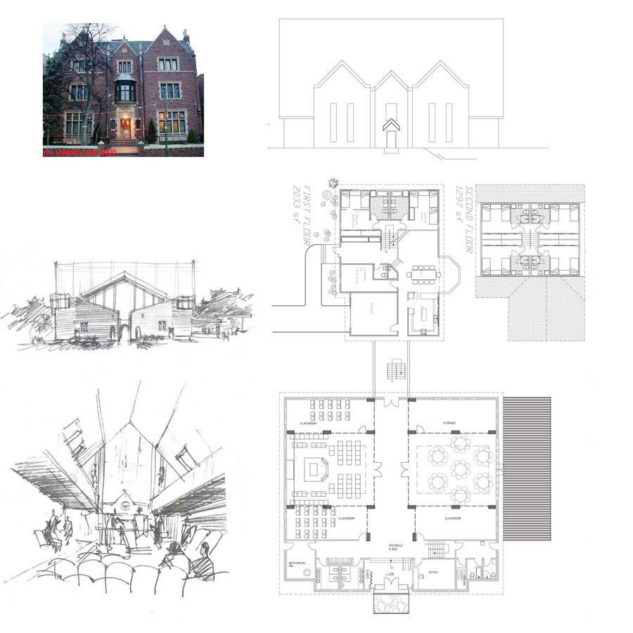Synagugue concept design Chabad House schematic design sanctuary sketch exterior elevation interior perspective