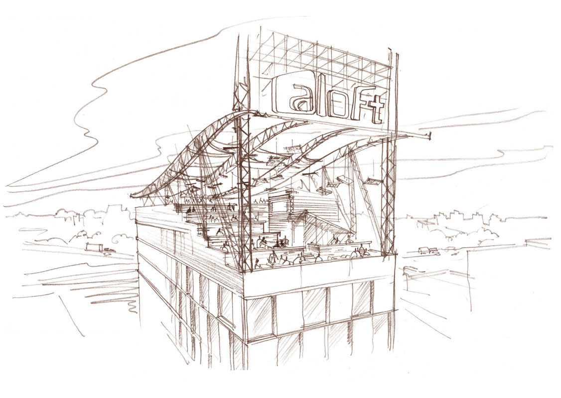 Architectural concept sketch, freehand rendering pencil restaurant hotel roof architectural illustration by Shalumov