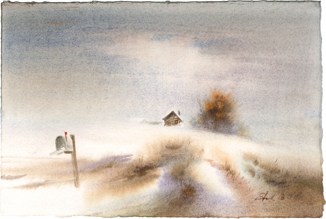watercolor paintings wet-on-wet winter landscape fine art aquarelle artist Shalum Shalumov