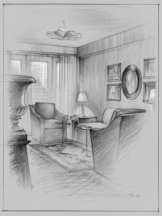 Architectural pencil rendering presentation concept sketch interior design living room New York visualization artist Shalum Shalumov