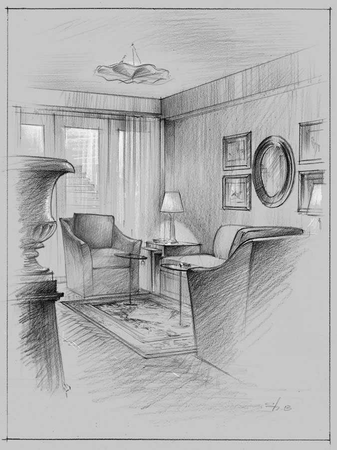 Living Room Sketch: Architectural Renderings & Sketches