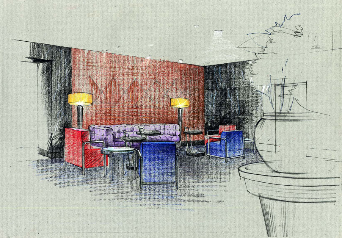 Architectural graphics Colored Pencils freehand rendering architectural illustration drawing concept sketch hotel interior Architecture visualization artist designer Shalum Shalumov