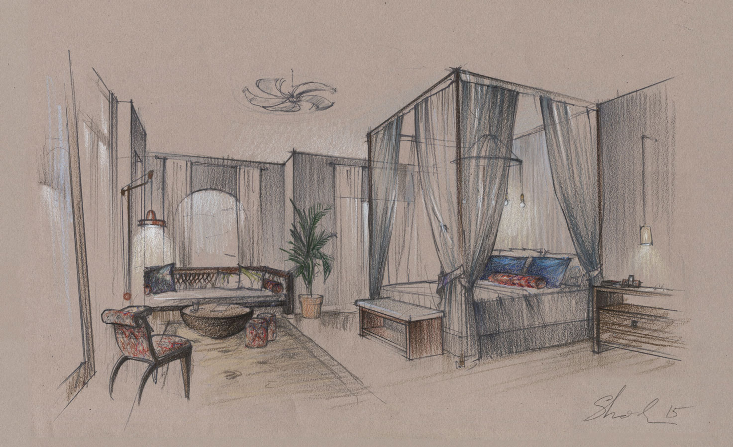 Architectural graphics renderings Colored Pencils freehand concept sketch architectural illustranion hand drawing hotel room Architecture visualization artist designer Shalum Shalumov