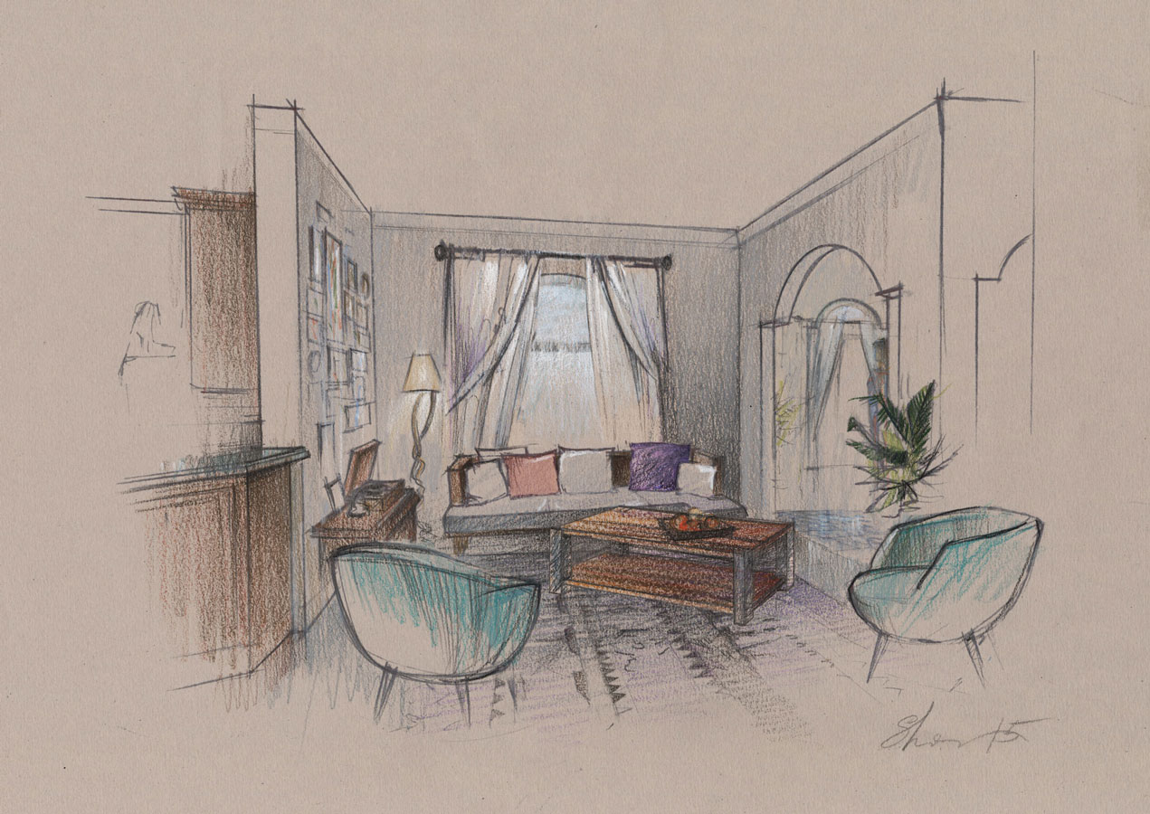 Colored Pencils freehand concept sketch architectural illustranion hand drawing hotel room Architectural graphics renderings Architecture visualization artist designer Shalum Shalumov