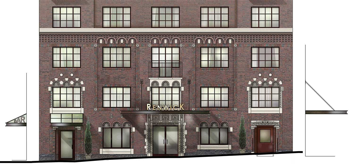 AutoCad Exterior Elevation painted in Photoshop architectural graphics renderings presentation Renwick Hotel