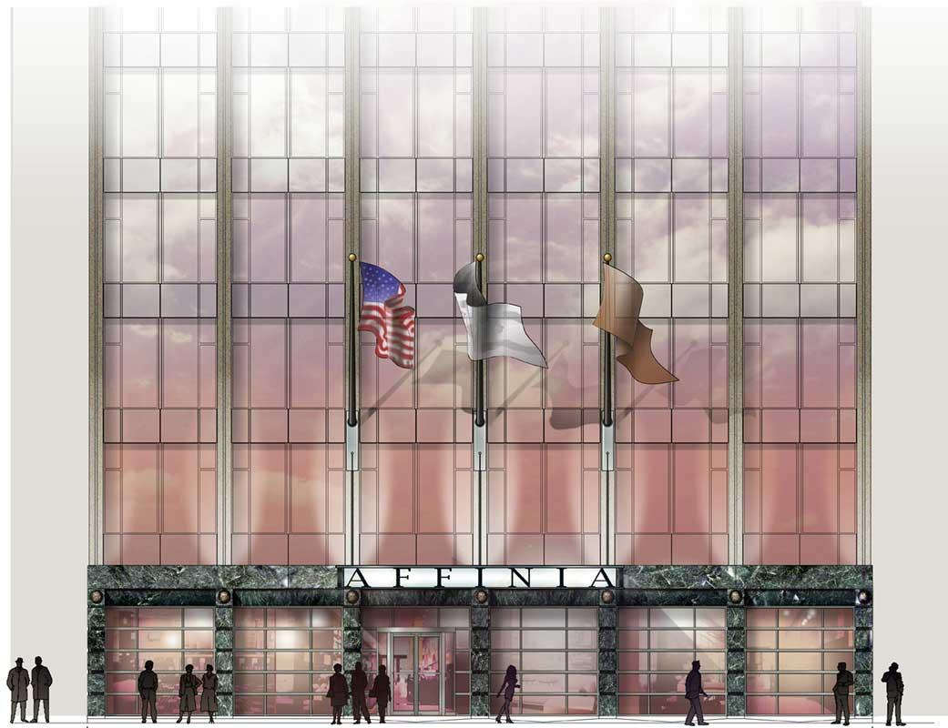 Affinia Hotel Chicago photoshop extrerior elevation renderings architectural illustration visualization by Shalumov